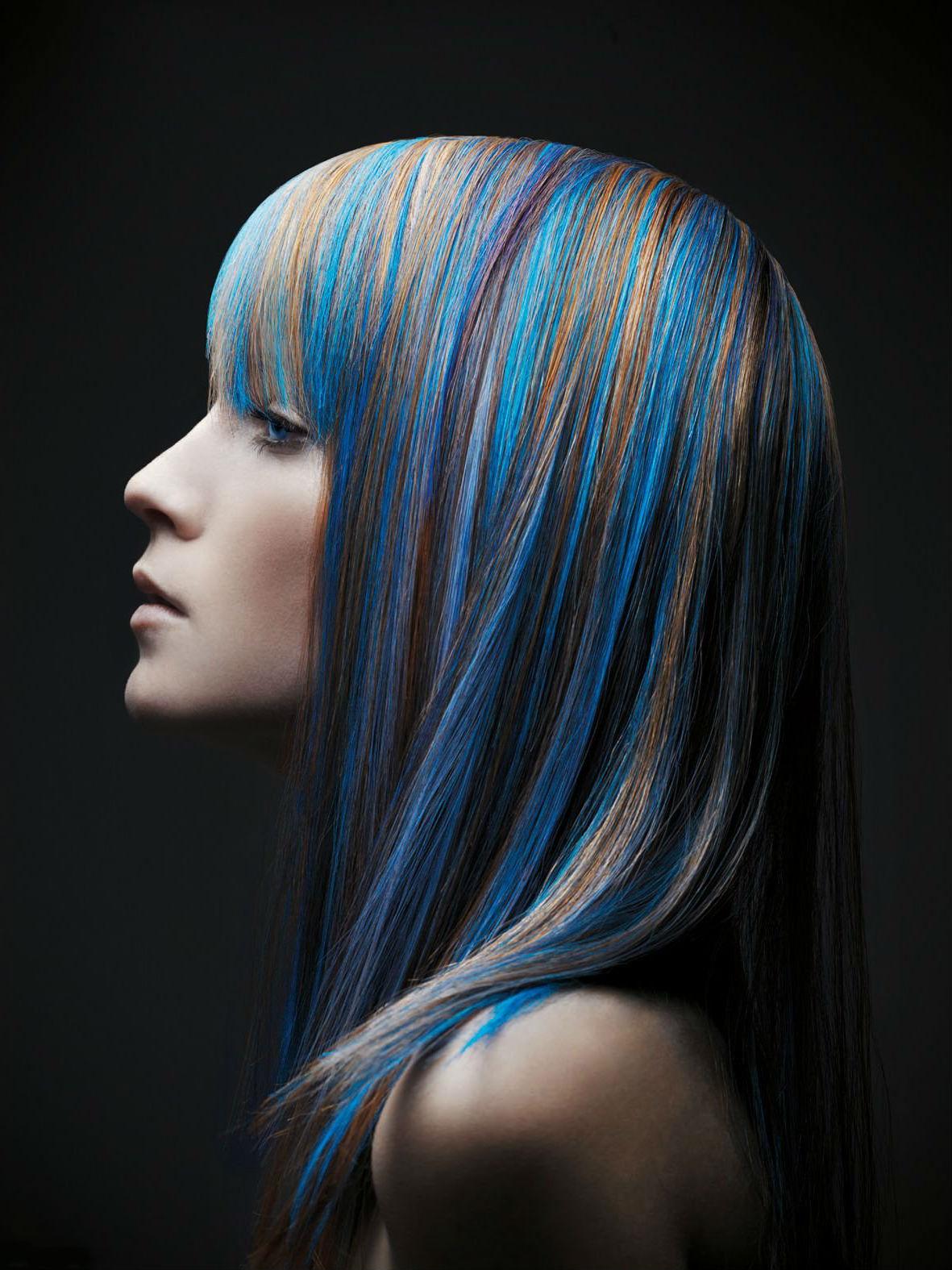 Цветные волосы на средние волосы