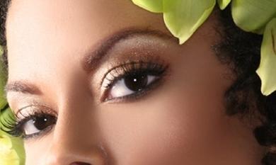 святковий макіяж очей - Золотисті металеві тіні