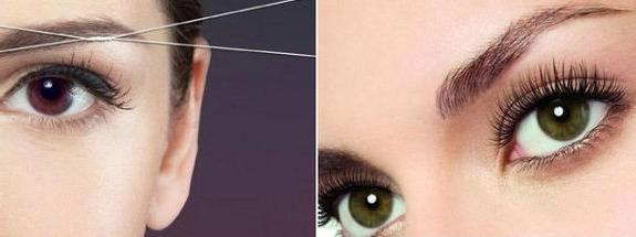 Коррекция бровей нитью - фото