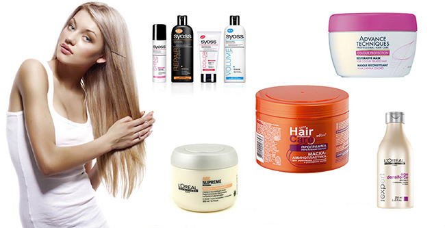 Жінка та маски для потовщення волосся