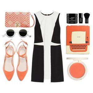 Рожеві туфлі на каблуці з чорним і сірим 04423777c30b4
